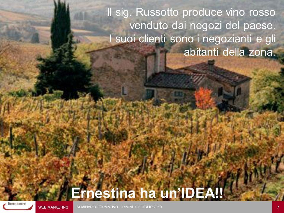 Il sig. Russotto produce vino rosso venduto dai negozi del paese.