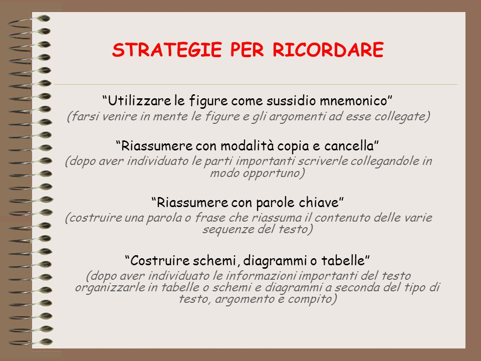 STRATEGIE PER RICORDARE