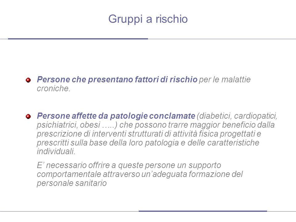 Gruppi a rischio Persone che presentano fattori di rischio per le malattie croniche.