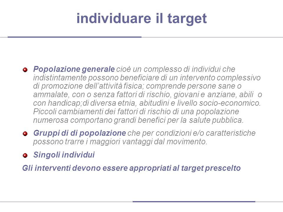 individuare il target