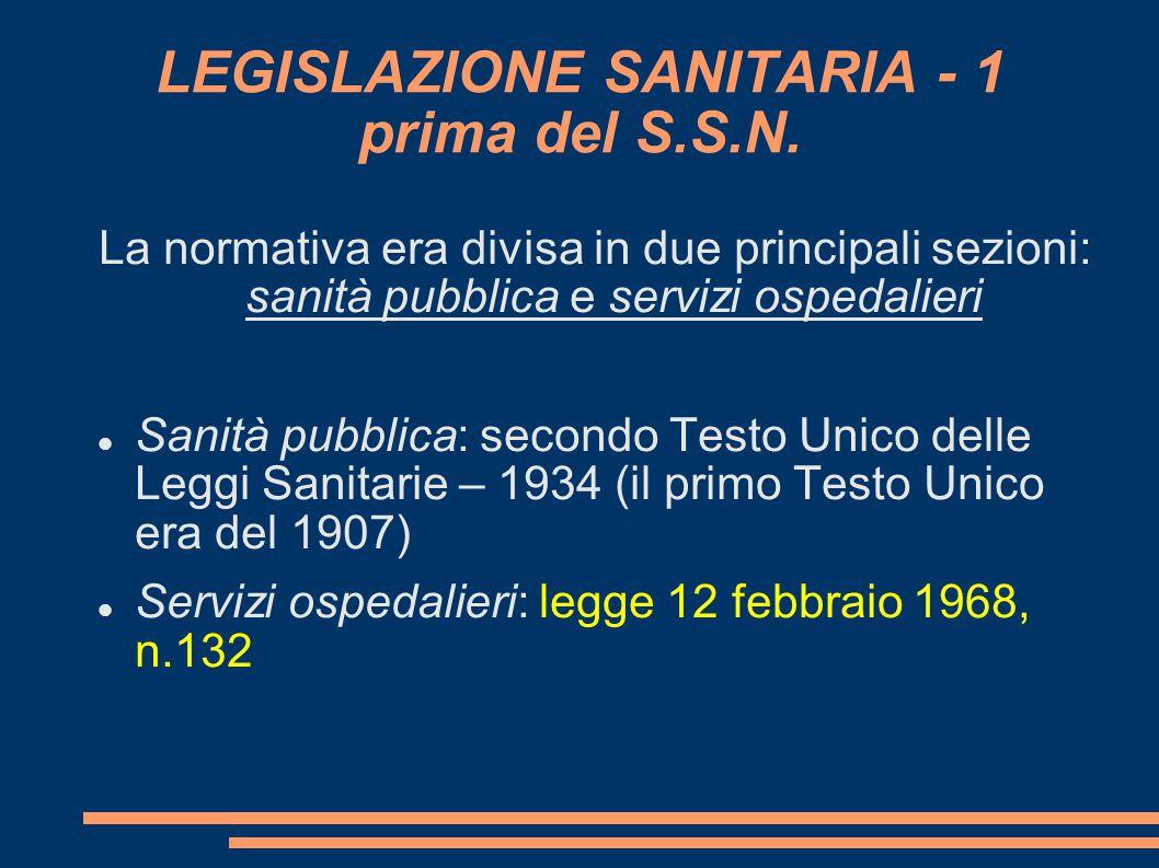 LEGISLAZIONE SANITARIA - 1 prima del S.S.N.