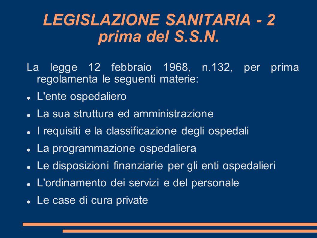 LEGISLAZIONE SANITARIA - 2 prima del S.S.N.