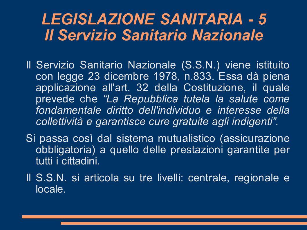 LEGISLAZIONE SANITARIA - 5 Il Servizio Sanitario Nazionale