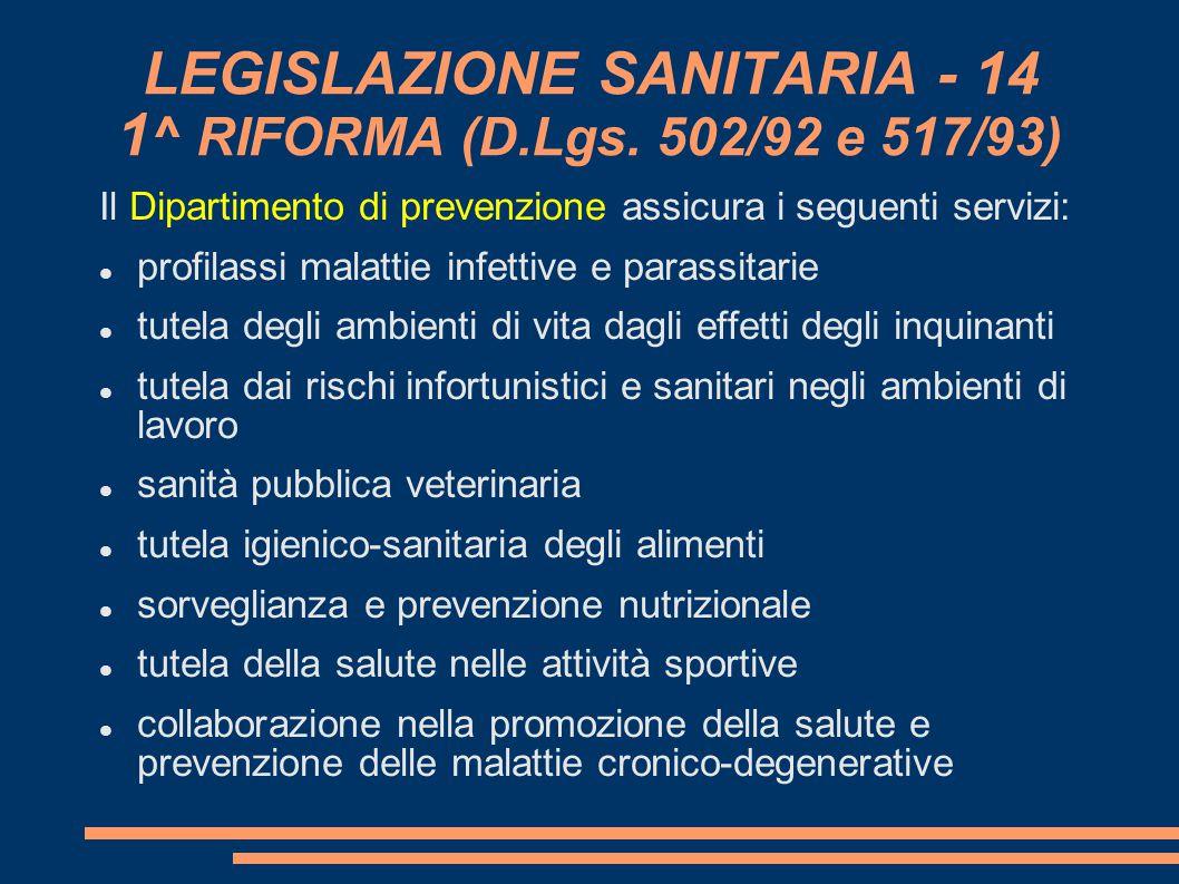 LEGISLAZIONE SANITARIA - 14 1^ RIFORMA (D.Lgs. 502/92 e 517/93)