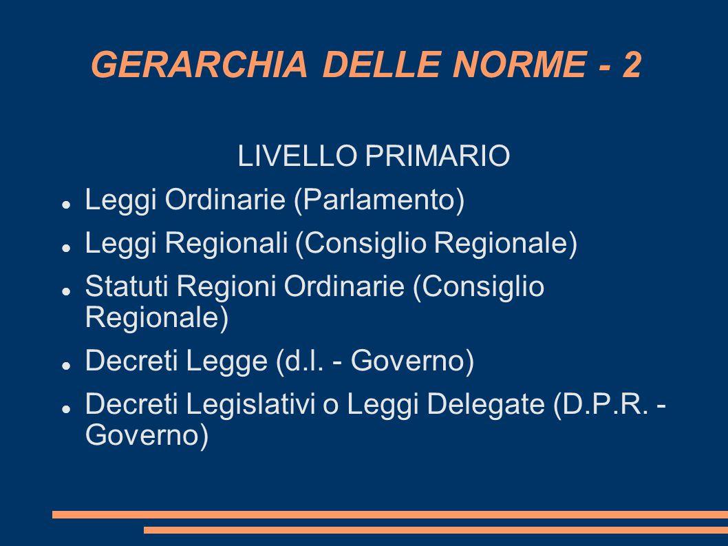 GERARCHIA DELLE NORME - 2