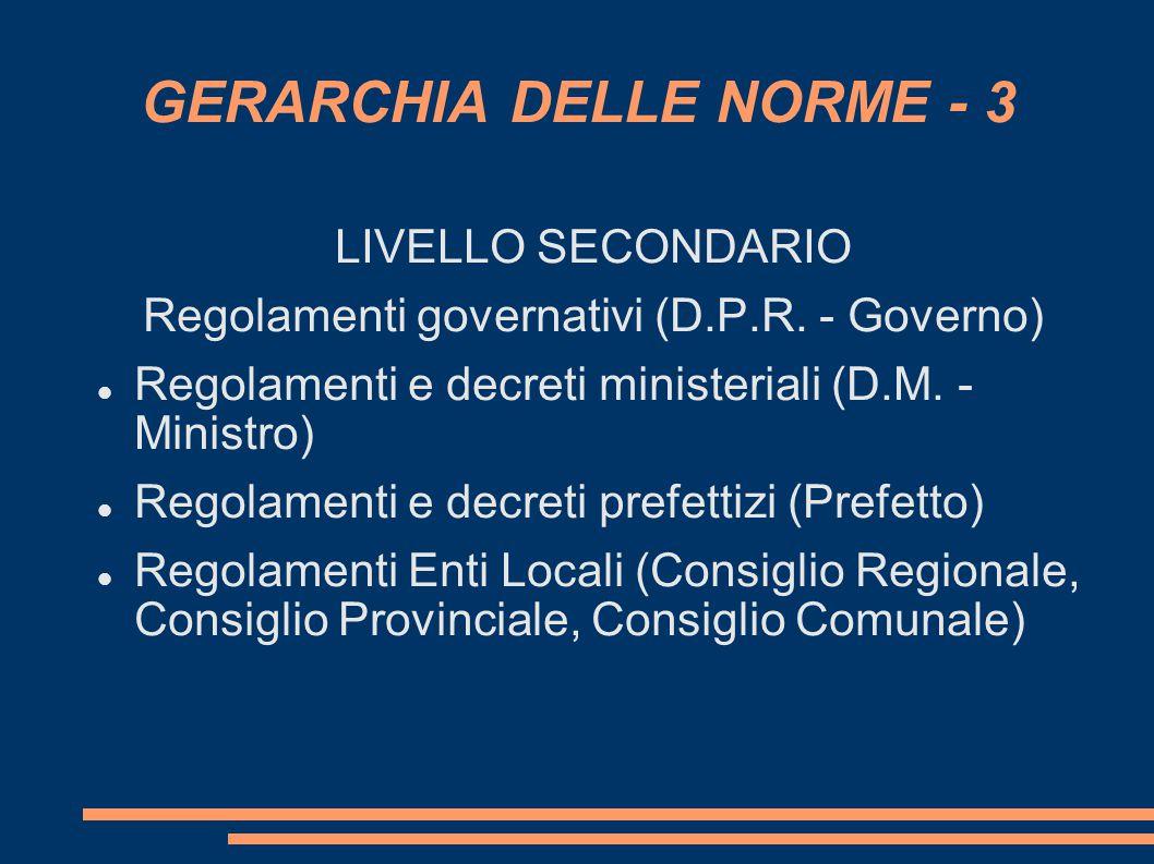 GERARCHIA DELLE NORME - 3