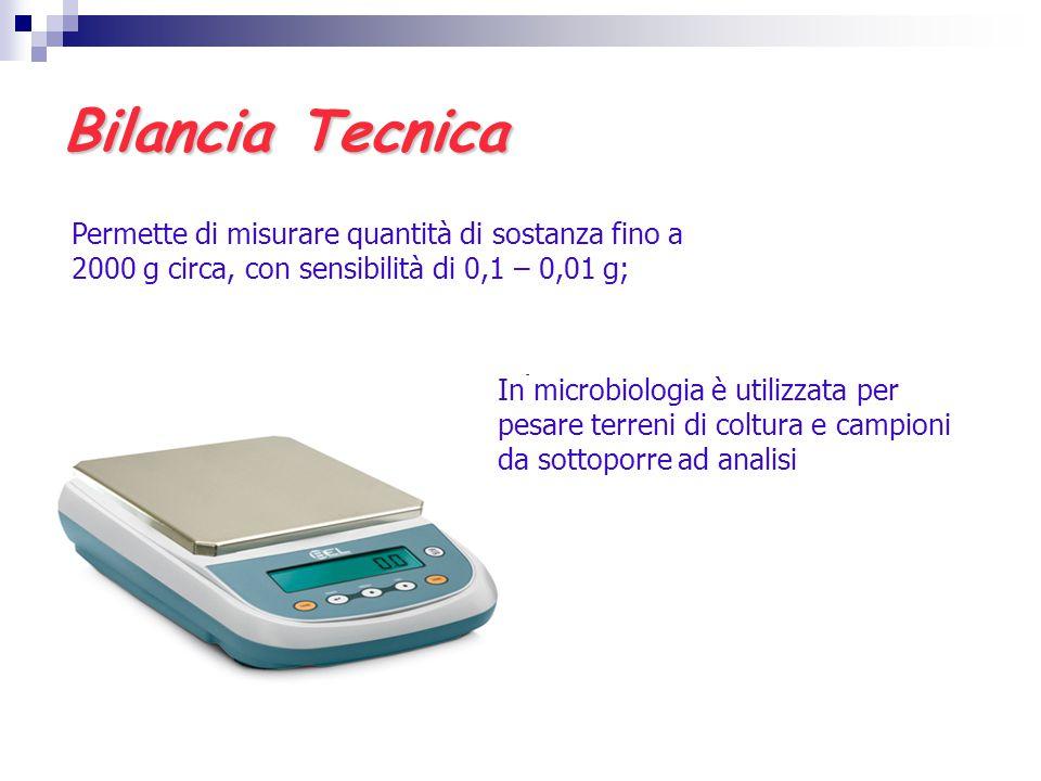 Bilancia Tecnica Permette di misurare quantità di sostanza fino a 2000 g circa, con sensibilità di 0,1 – 0,01 g;