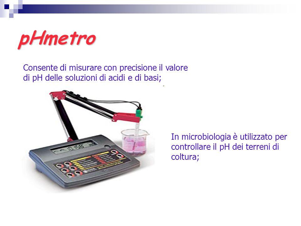pHmetro Consente di misurare con precisione il valore di pH delle soluzioni di acidi e di basi;