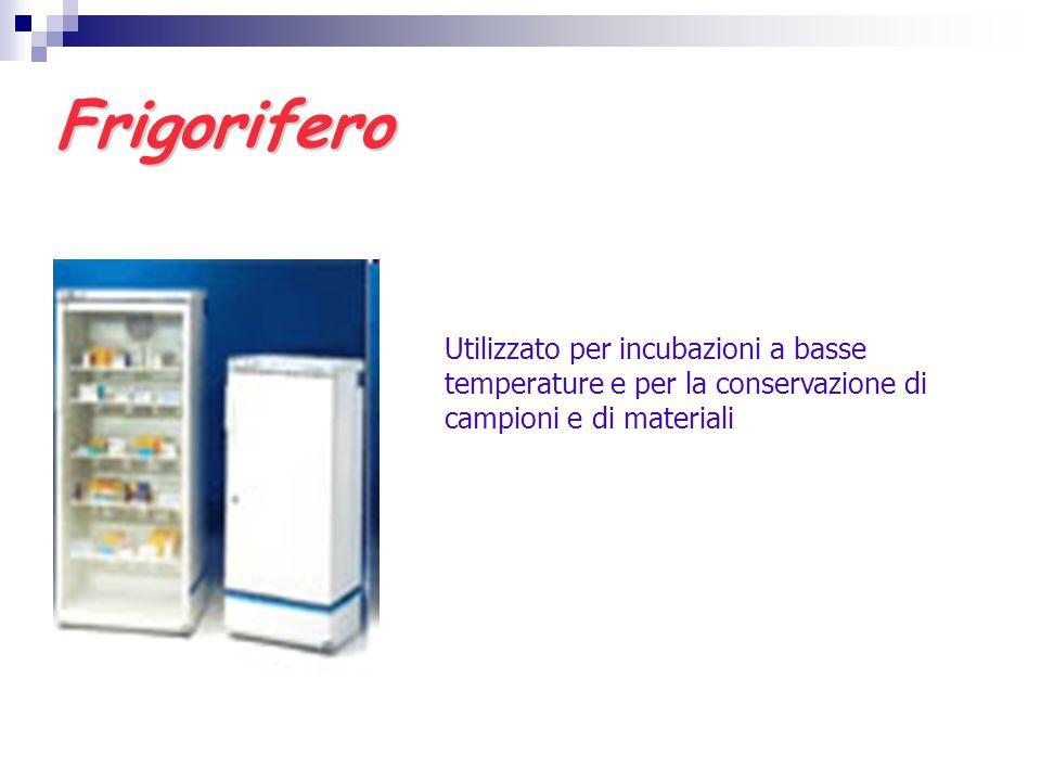 Frigorifero Utilizzato per incubazioni a basse temperature e per la conservazione di campioni e di materiali.