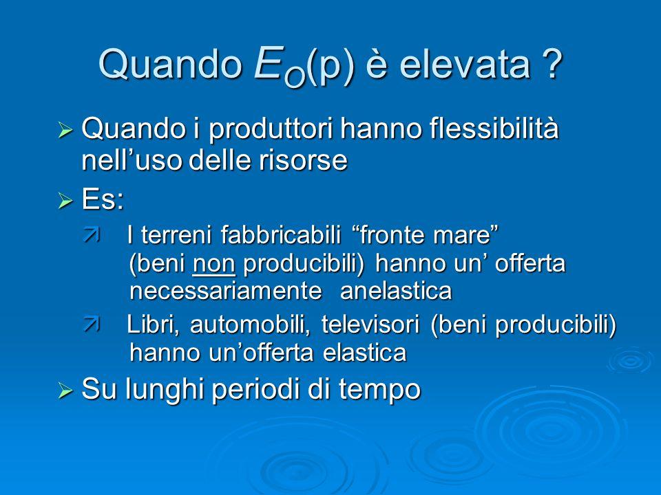 Quando EO(p) è elevata Quando i produttori hanno flessibilità nell'uso delle risorse. Es: