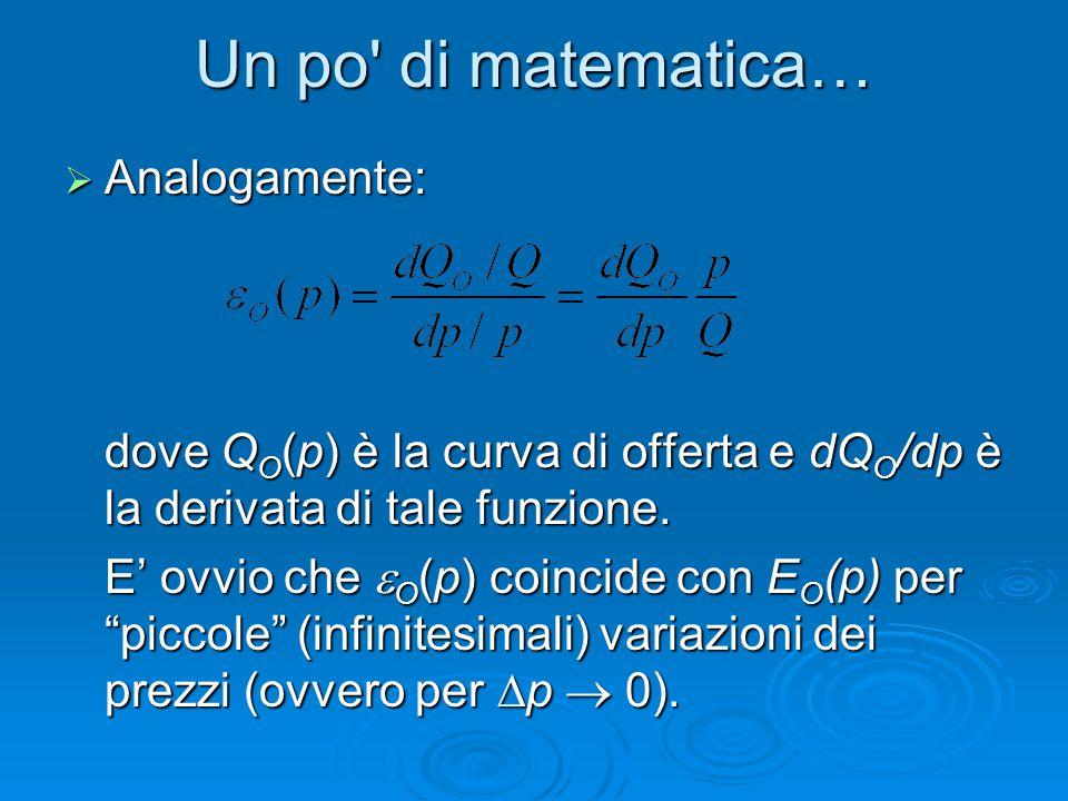 Un po di matematica… Analogamente: