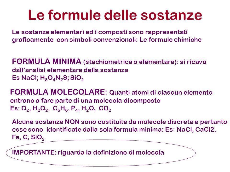 Le formule delle sostanze