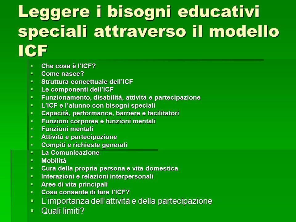 Leggere i bisogni educativi speciali attraverso il modello ICF