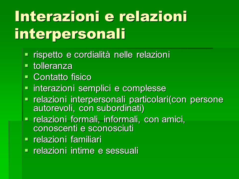 Interazioni e relazioni interpersonali