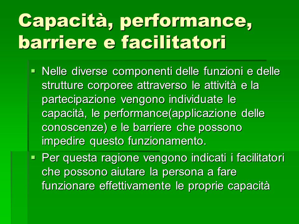Capacità, performance, barriere e facilitatori