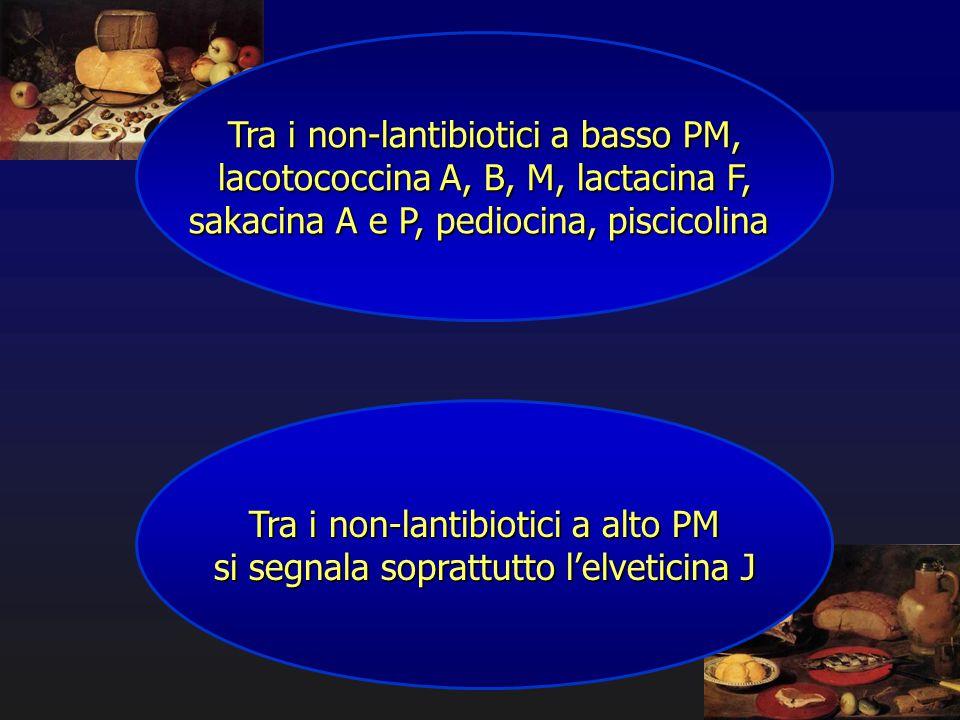 Tra i non-lantibiotici a basso PM, lacotococcina A, B, M, lactacina F,