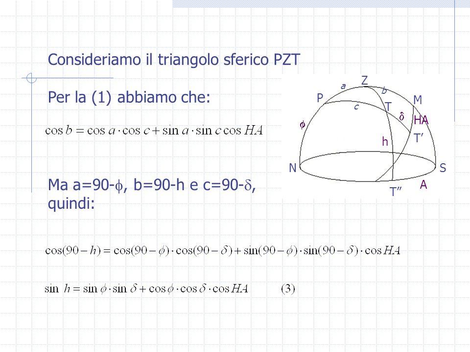 Consideriamo il triangolo sferico PZT Per la (1) abbiamo che: