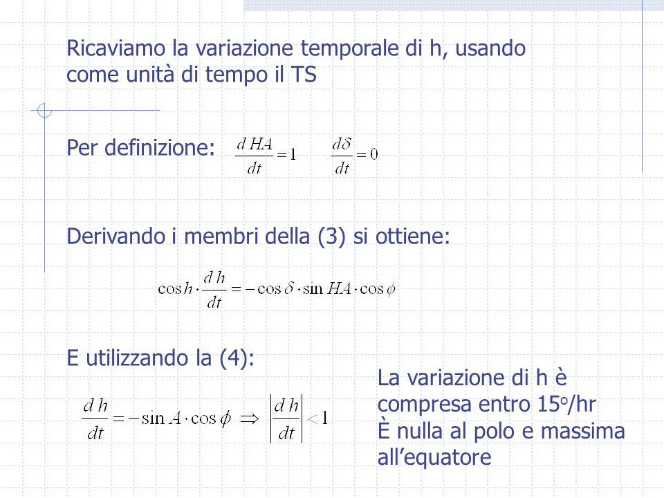 Ricaviamo la variazione temporale di h, usando