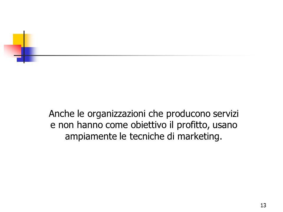 Anche le organizzazioni che producono servizi e non hanno come obiettivo il profitto, usano ampiamente le tecniche di marketing.