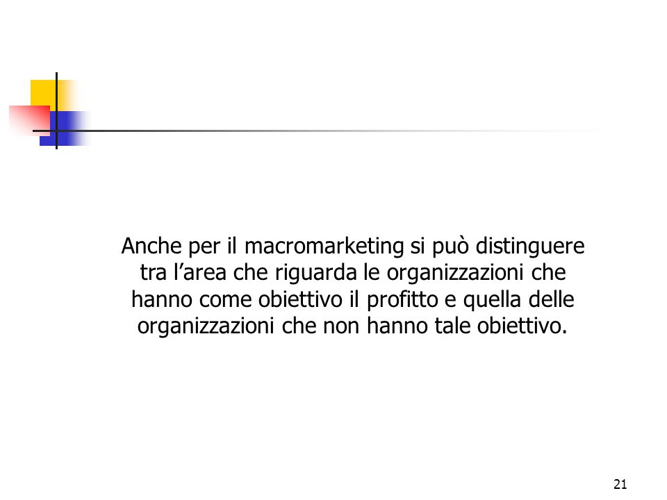 Anche per il macromarketing si può distinguere tra l'area che riguarda le organizzazioni che hanno come obiettivo il profitto e quella delle organizzazioni che non hanno tale obiettivo.
