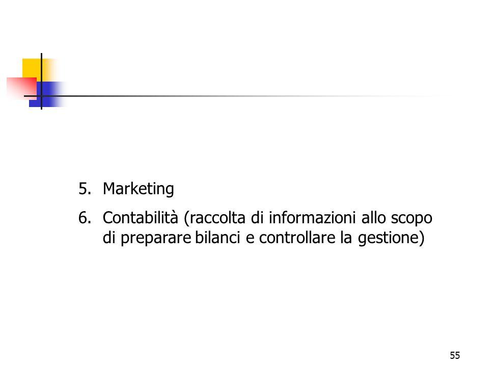 Marketing Contabilità (raccolta di informazioni allo scopo di preparare bilanci e controllare la gestione)