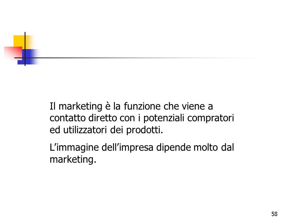 Il marketing è la funzione che viene a contatto diretto con i potenziali compratori ed utilizzatori dei prodotti.