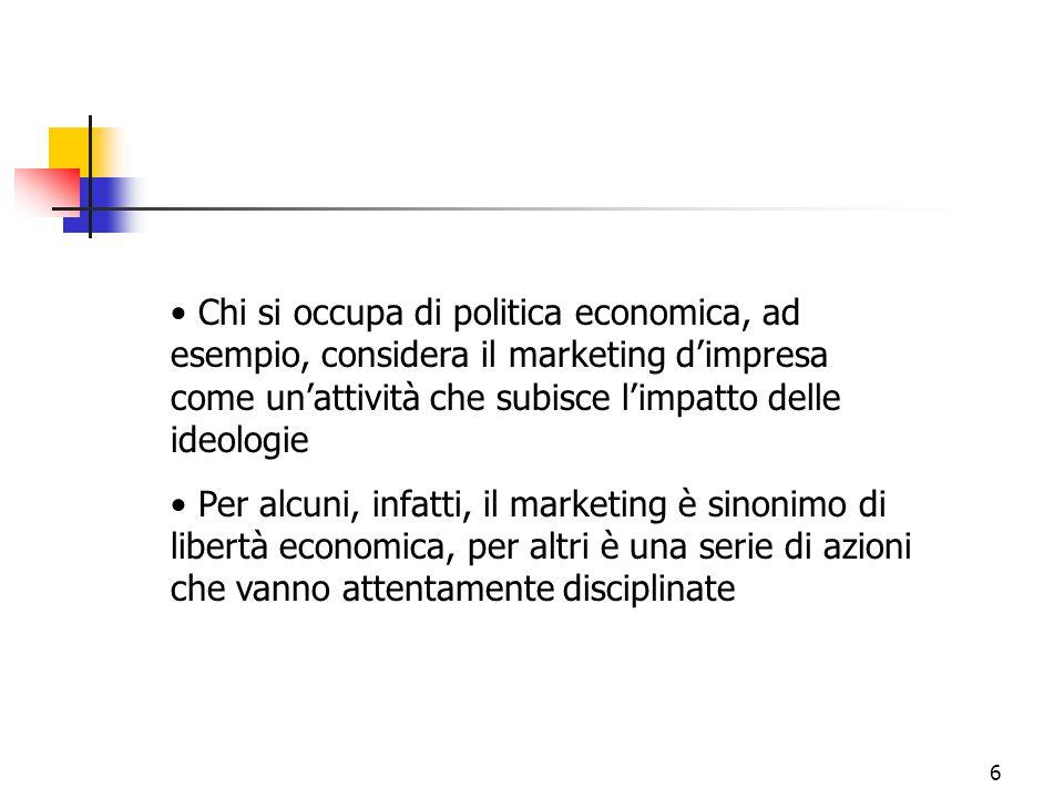 Chi si occupa di politica economica, ad esempio, considera il marketing d'impresa come un'attività che subisce l'impatto delle ideologie