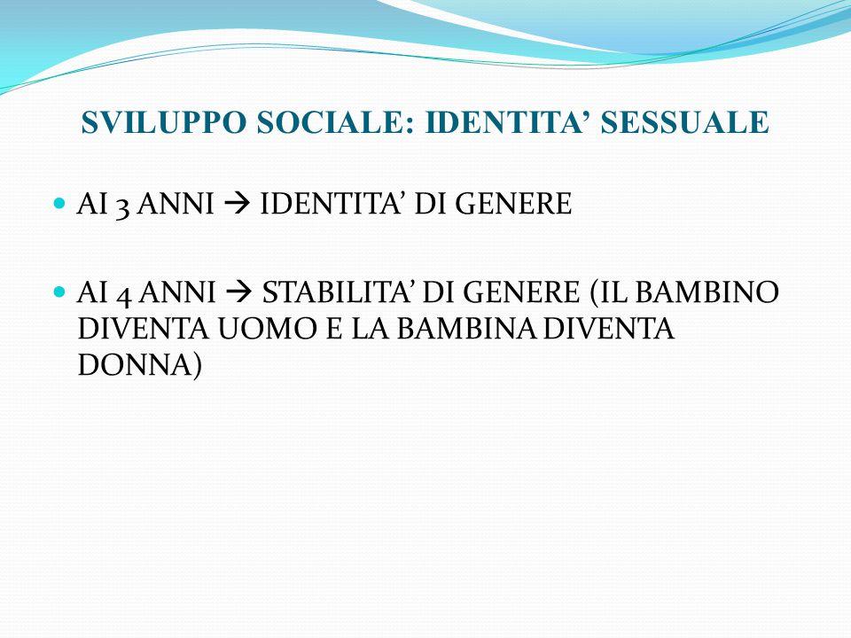 SVILUPPO SOCIALE: IDENTITA' SESSUALE