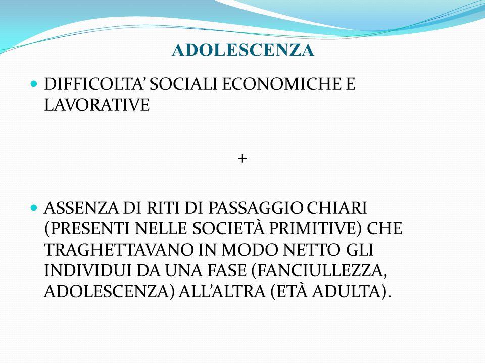 ADOLESCENZA + DIFFICOLTA' SOCIALI ECONOMICHE E LAVORATIVE