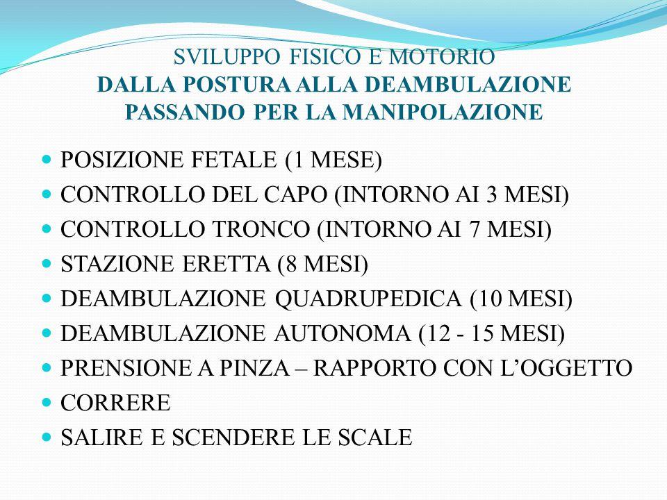 POSIZIONE FETALE (1 MESE) CONTROLLO DEL CAPO (INTORNO AI 3 MESI)