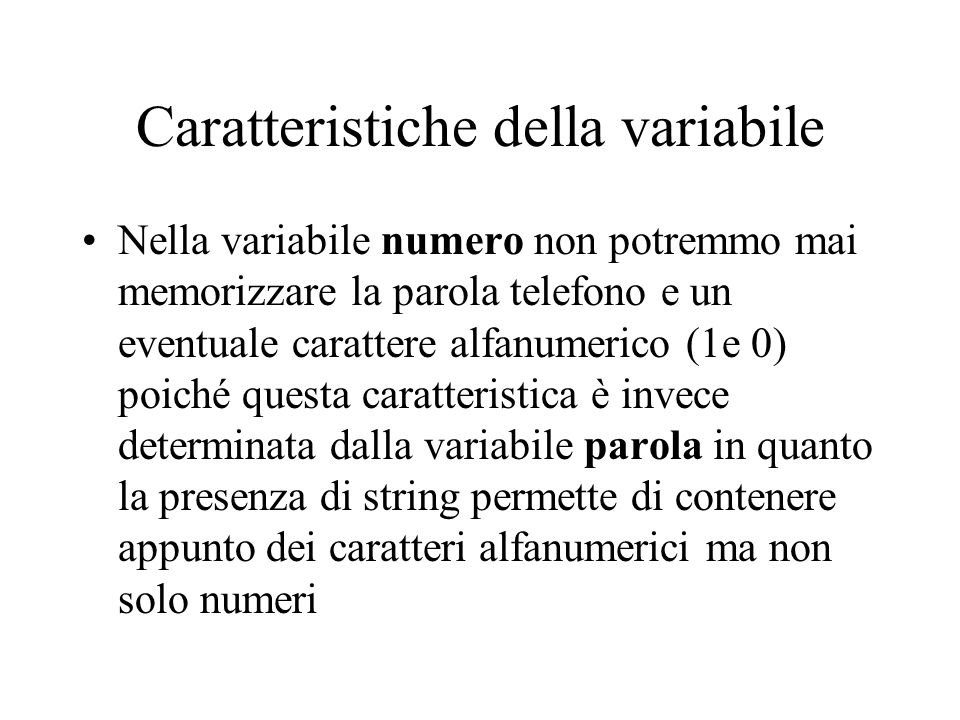 Caratteristiche della variabile