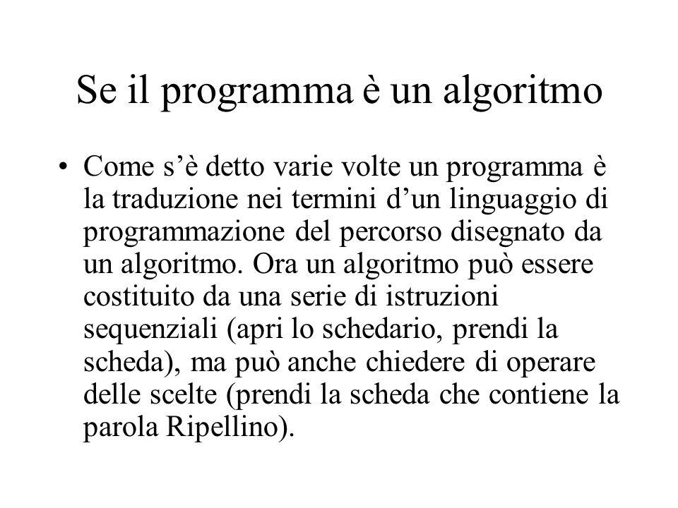 Se il programma è un algoritmo