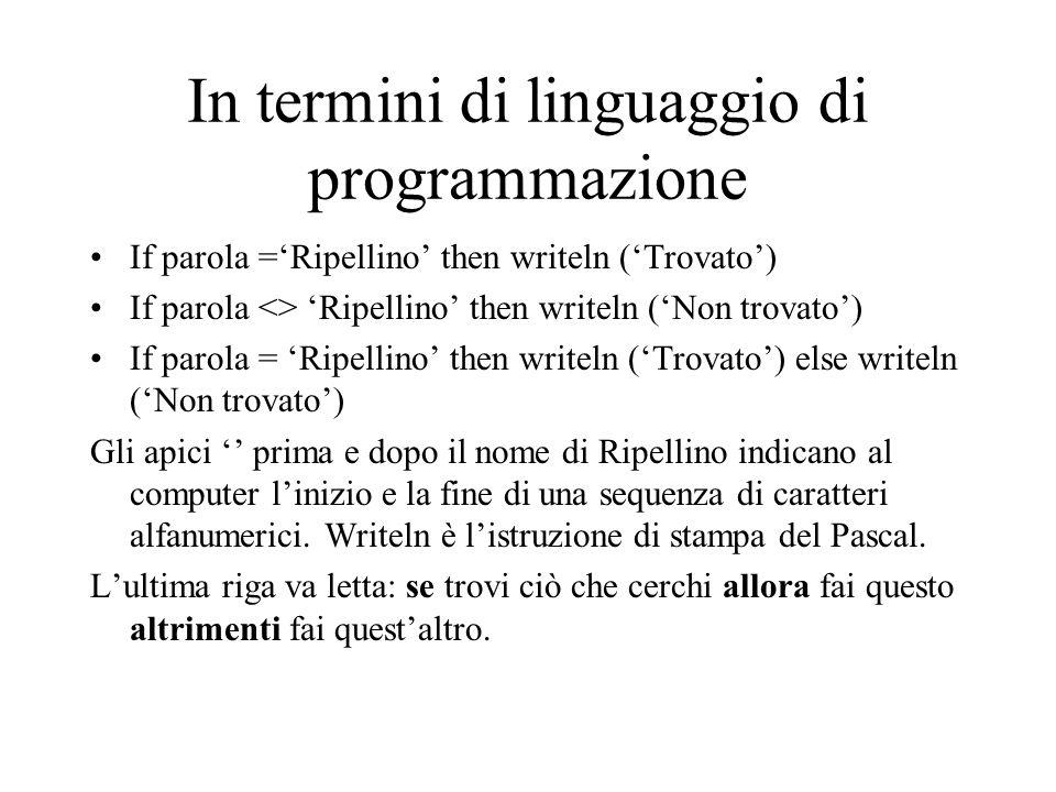 In termini di linguaggio di programmazione