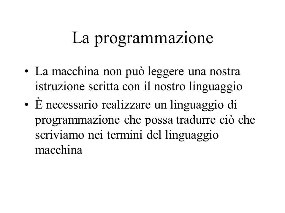La programmazione La macchina non può leggere una nostra istruzione scritta con il nostro linguaggio.