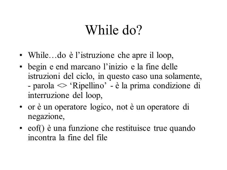 While do While…do è l'istruzione che apre il loop,