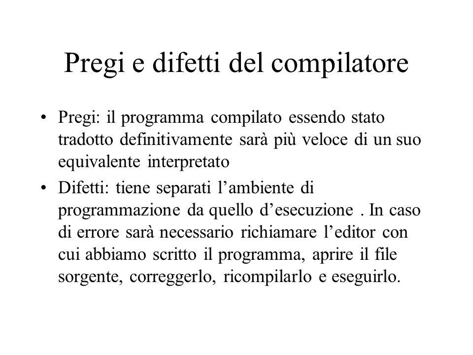 Pregi e difetti del compilatore