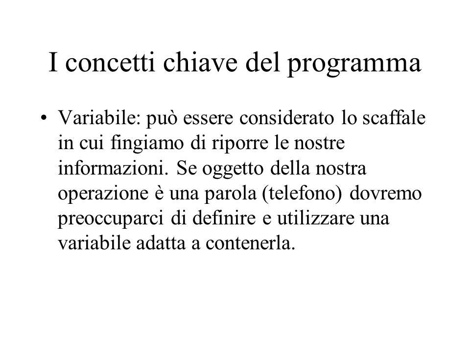 I concetti chiave del programma
