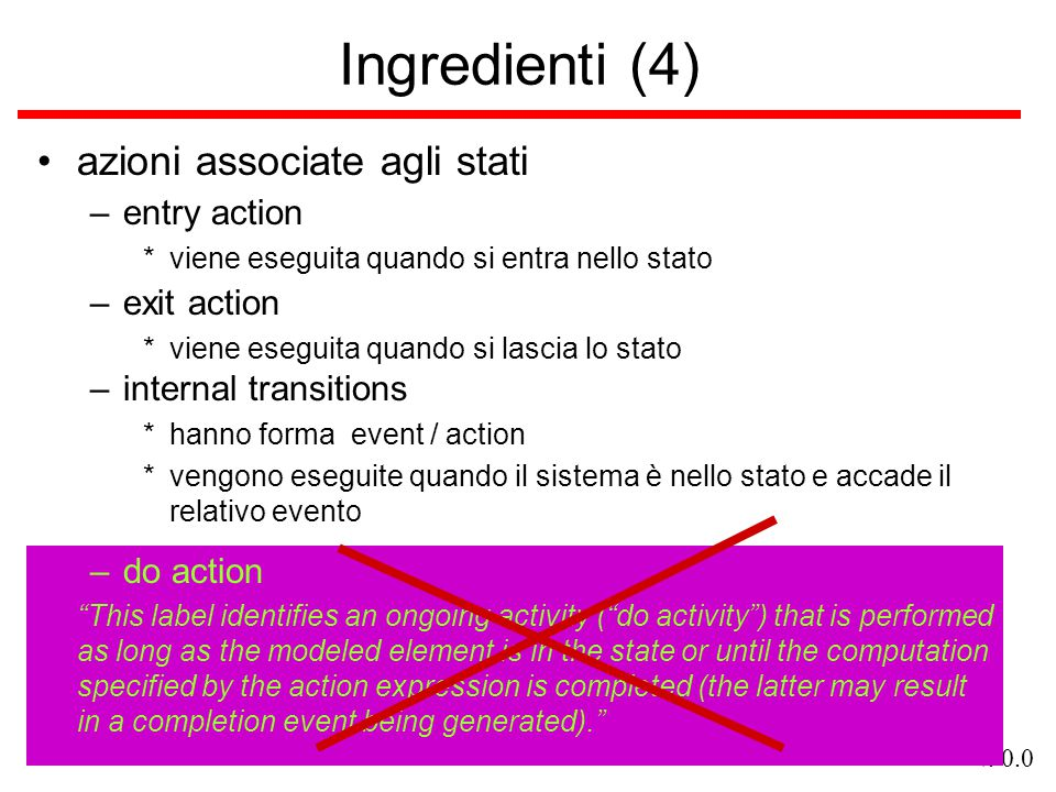 Ingredienti (4) azioni associate agli stati entry action exit action