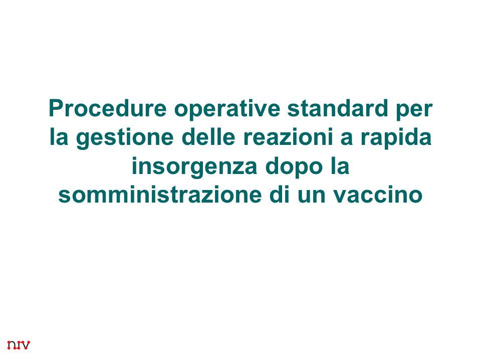 Procedure operative standard per la gestione delle reazioni a rapida insorgenza dopo la somministrazione di un vaccino