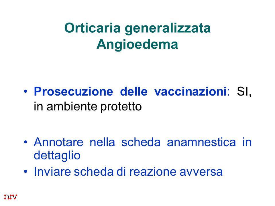 Orticaria generalizzata Angioedema