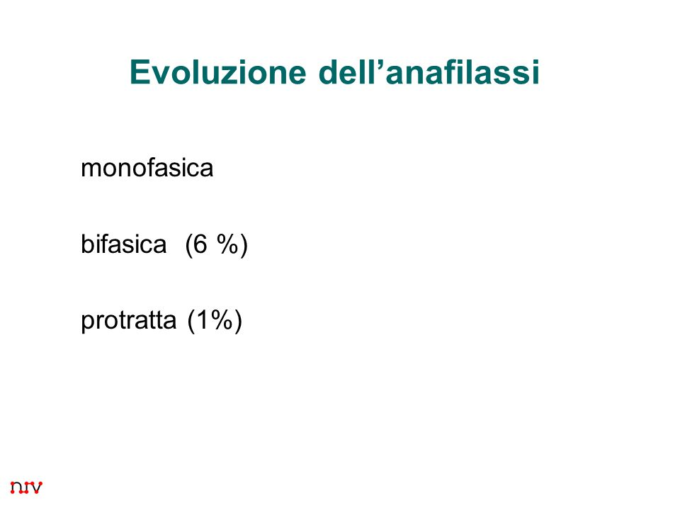 Evoluzione dell'anafilassi