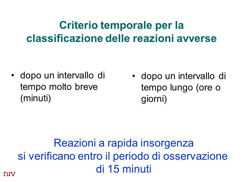 Criterio temporale per la classificazione delle reazioni avverse