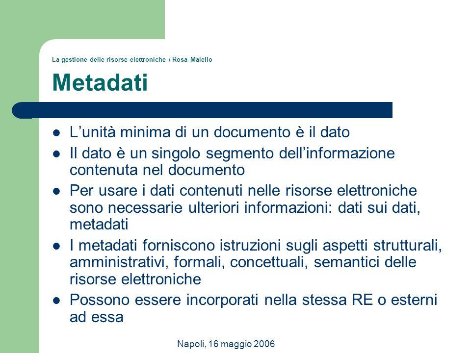 La gestione delle risorse elettroniche / Rosa Maiello Metadati
