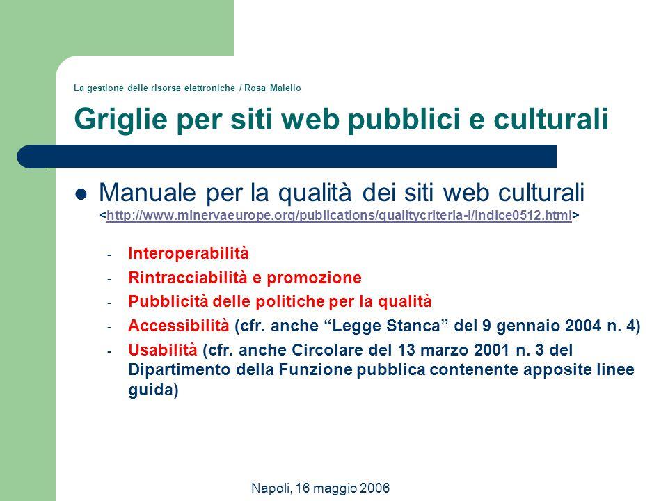 La gestione delle risorse elettroniche / Rosa Maiello Griglie per siti web pubblici e culturali