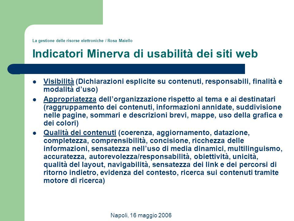La gestione delle risorse elettroniche / Rosa Maiello Indicatori Minerva di usabilità dei siti web