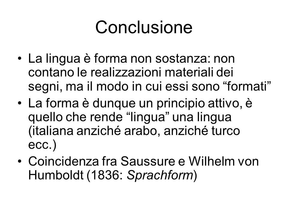 Conclusione La lingua è forma non sostanza: non contano le realizzazioni materiali dei segni, ma il modo in cui essi sono formati