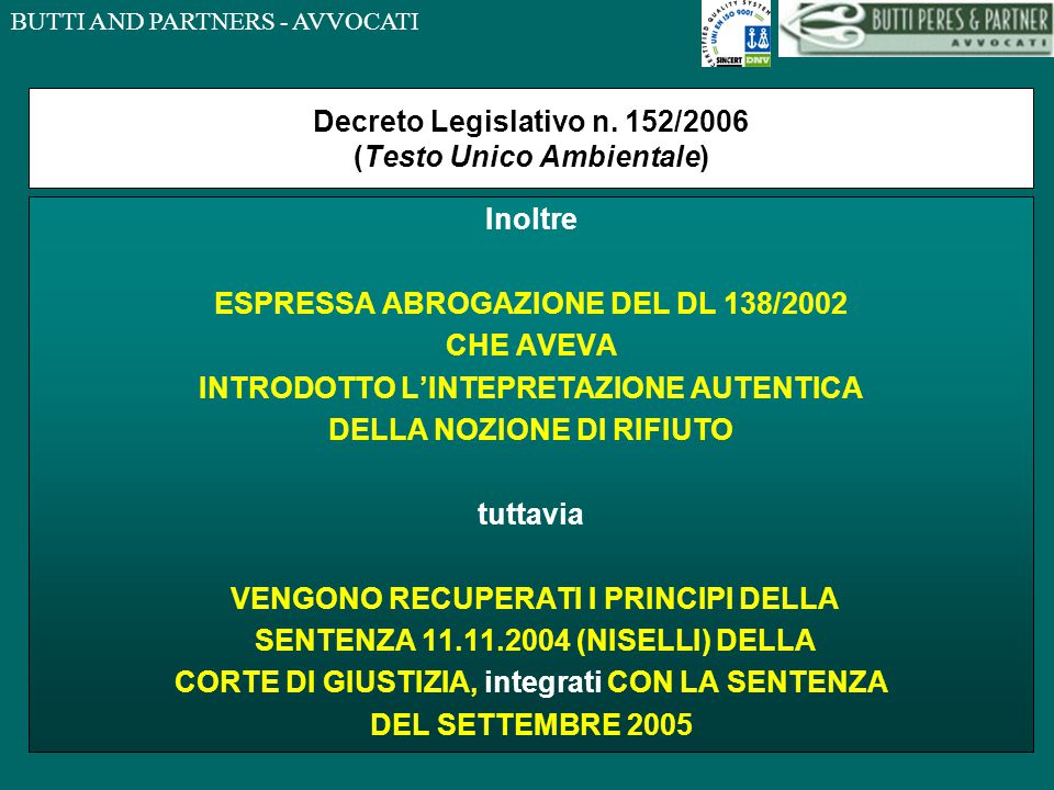 Decreto Legislativo n. 152/2006 (Testo Unico Ambientale)