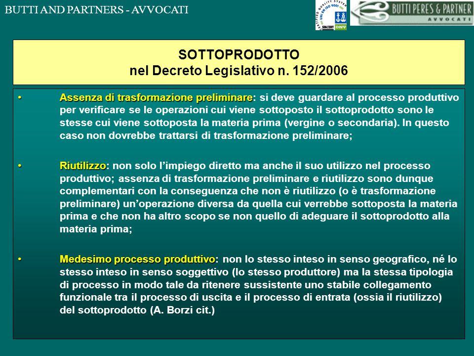 SOTTOPRODOTTO nel Decreto Legislativo n. 152/2006