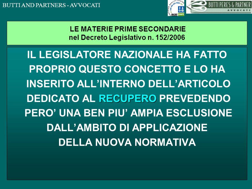 LE MATERIE PRIME SECONDARIE nel Decreto Legislativo n. 152/2006