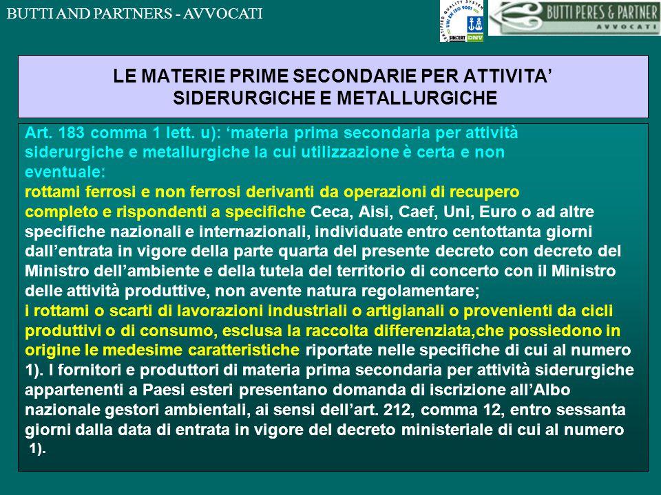 LE MATERIE PRIME SECONDARIE PER ATTIVITA' SIDERURGICHE E METALLURGICHE